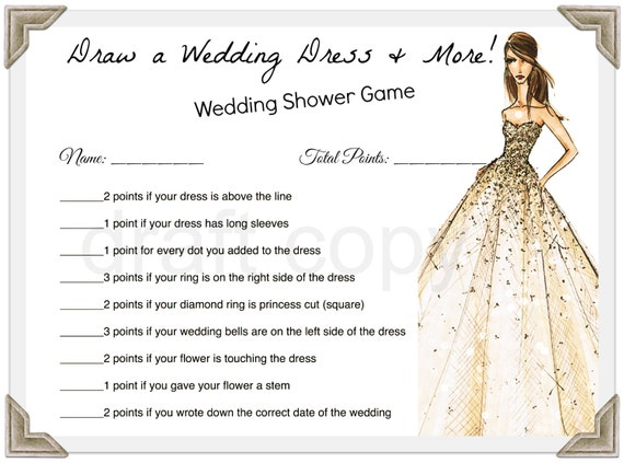 items similar to draw a wedding dress game wedding shower on etsy