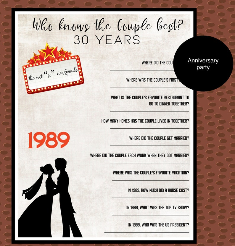 30th Wedding Anniversary Trivia Game | Trivia questions | 1989 Anniversary  Trivia | Custom Anniversary Trivia | Custom Download