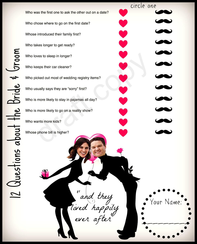 Bridal Shower Game Wedding Shower Game Instant Download