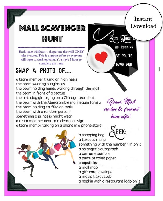 Mall Scavenger Hunt Game Instant Download Etsy