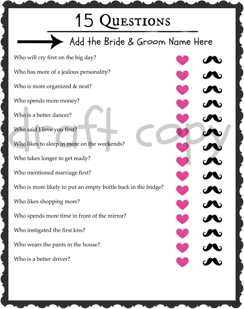 Braut Bräutigam Quiz Hochzeit Dusche Spiel Bachelorette Etsy