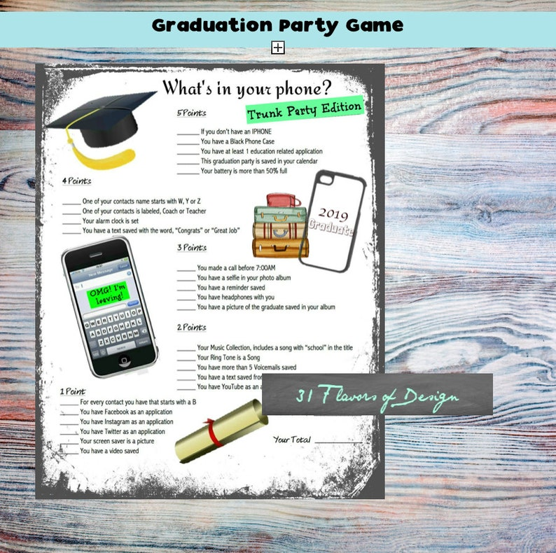 photo about Printable Trunk Party Games called Commencement Trunk Bash Match Trunk Occasion Grad Sport Trunk Bash Options \\ Fast Obtain Commencement Options