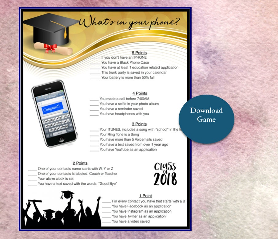 photo relating to Printable Trunk Party Games identified as Commencement Social gathering Activity-Whats within just your cellphone Recreation- Commencement Occasion 2018