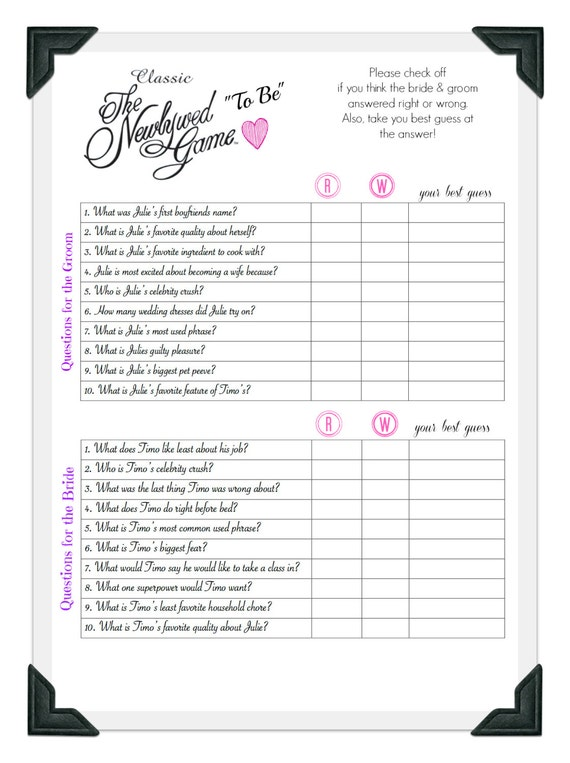 Newlyweds game questions bridal shower