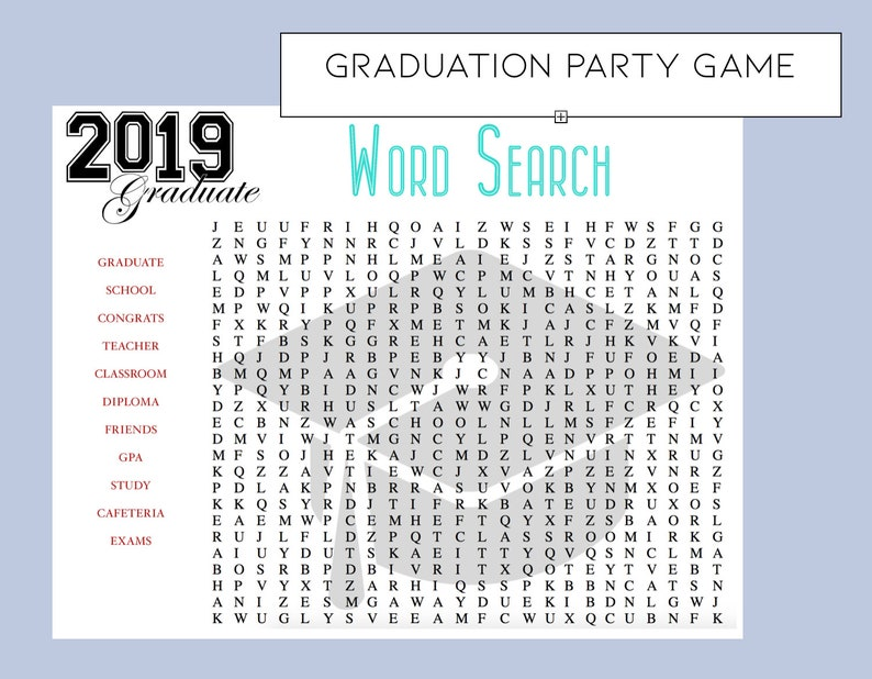 image regarding Free Printable Graduation Party Games named Commencement Social gathering Activity-Commencement Themed Phrase Look - Fast Down load - Commencement Strategies - Come across the Commencement Themed phrase -Printable
