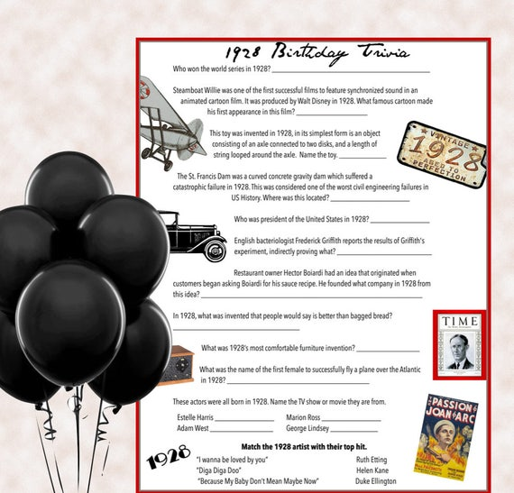 1928 Birthday Trivia Game Parties Instant