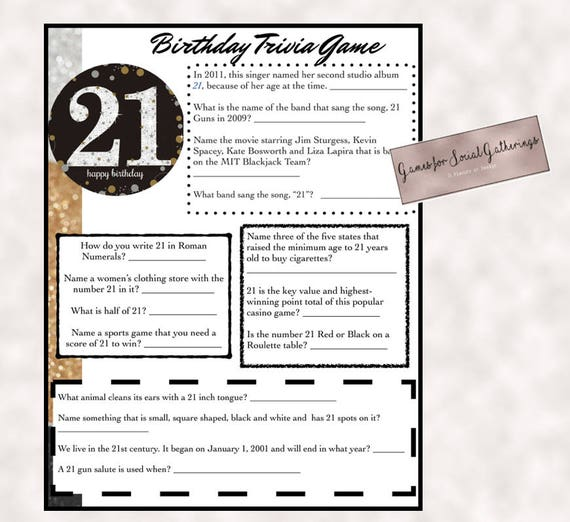 21st Birthday Trivia Game Instant Download Everything To