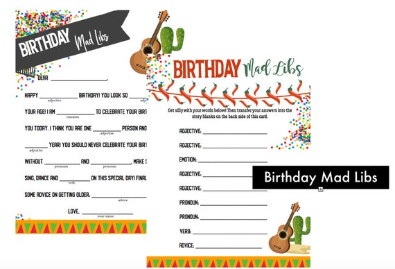 image about Birthday Mad Libs Printable titled Birthday Celebration Nuts Libs - Birthday Outrageous Libs - Birthday Social gathering Printable -Do-it-yourself Nuts Lib -Fiesta Bash Recreation