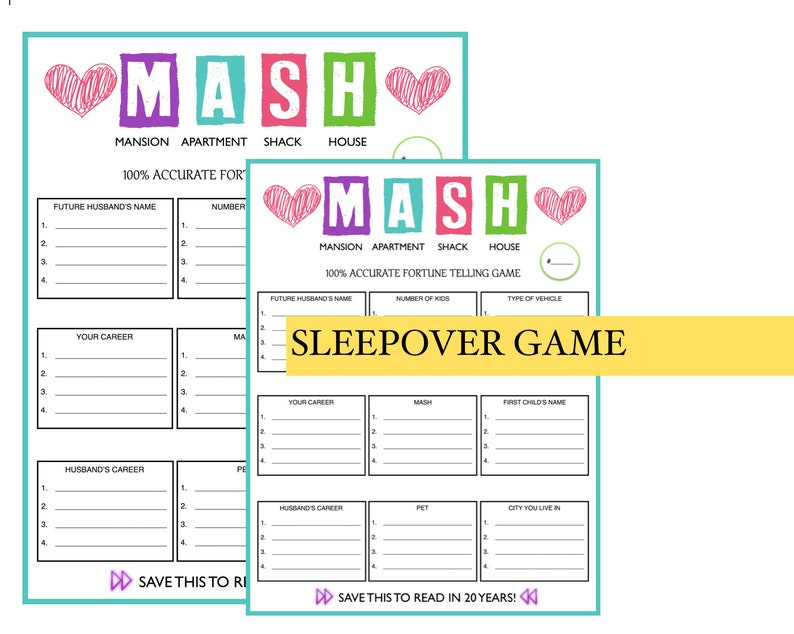 picture about Mash Game Printable known as Gals Snooze Occasion Birthday Get together Match \\\\ Standard MASH Recreation \\\\ Females Birthday Celebration \\\\ \