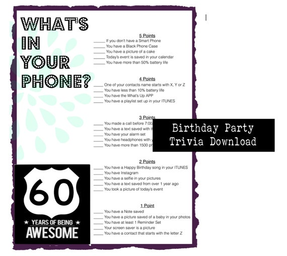 60th Birthday Party Game | Whats in your phone -Instant Download - Birthday  Party