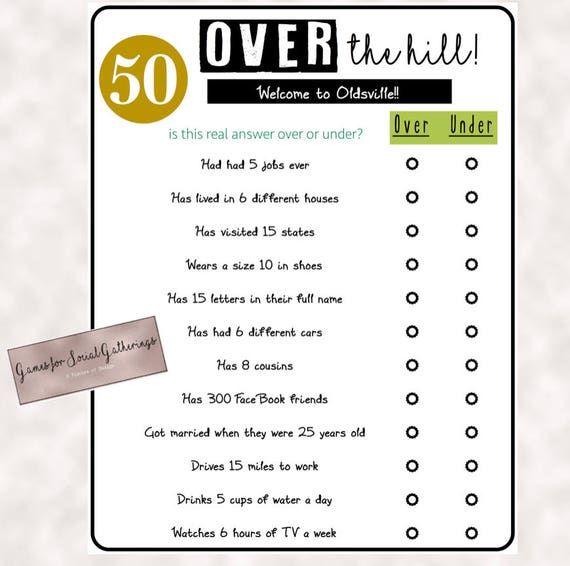 50th Birthday Party Games.Birthday Party Game Over The Hill Over Or Under Trivia Game 50th Birthday Party Instant Download Birthday Printables
