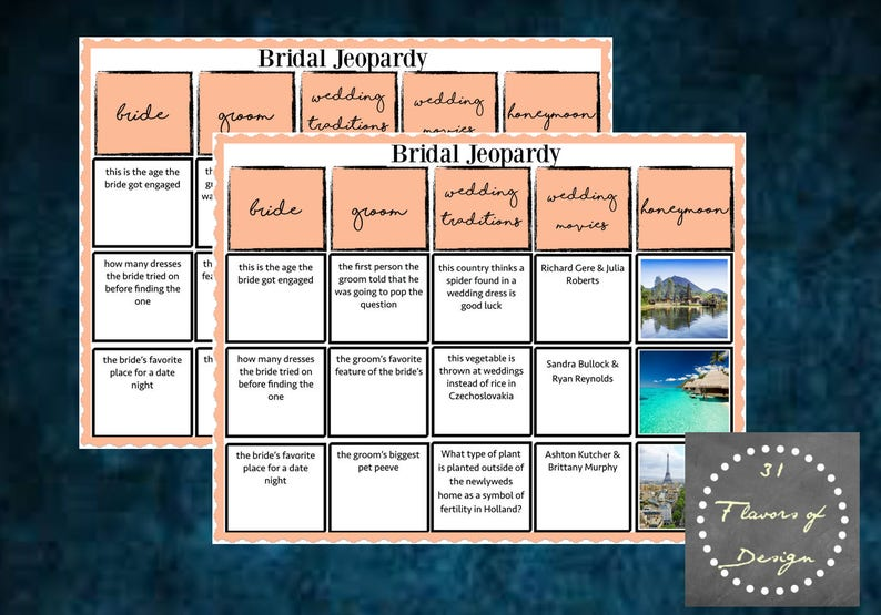 Bridal Shower Jeopardy Game| Instant Download