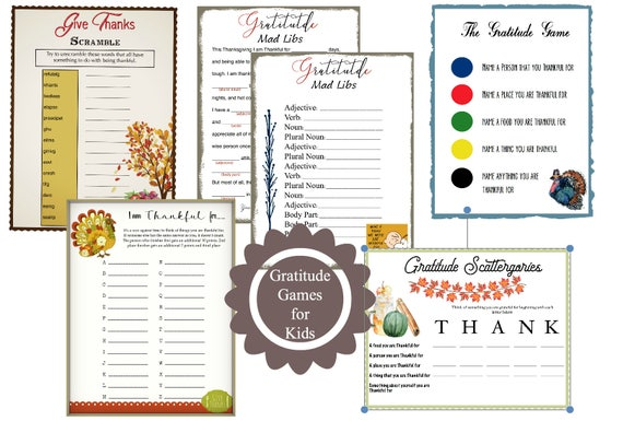 Gratitude Games Pack | Teach kids how the thankful by playing a game! |  Instant Download | 4 Games Plus Bonus One