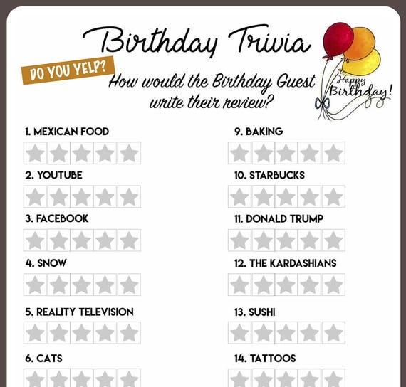 Items Similar To Birthday Trivia Game-