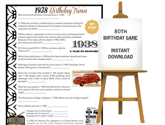 Birthday Party Trivia Game Year 1938