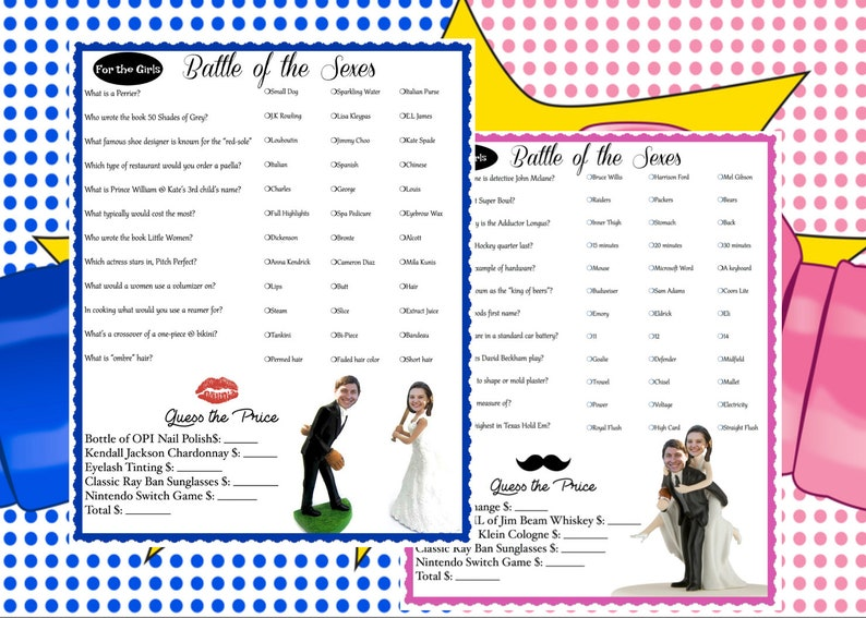 f8a7f9d2dd7 Battle of the Sexes-Couple Shower Game-Trivia Couples Shower