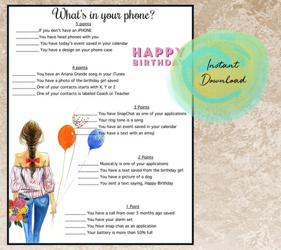 Girls Birthday Party Game-Whats In Your Phone Tween Party