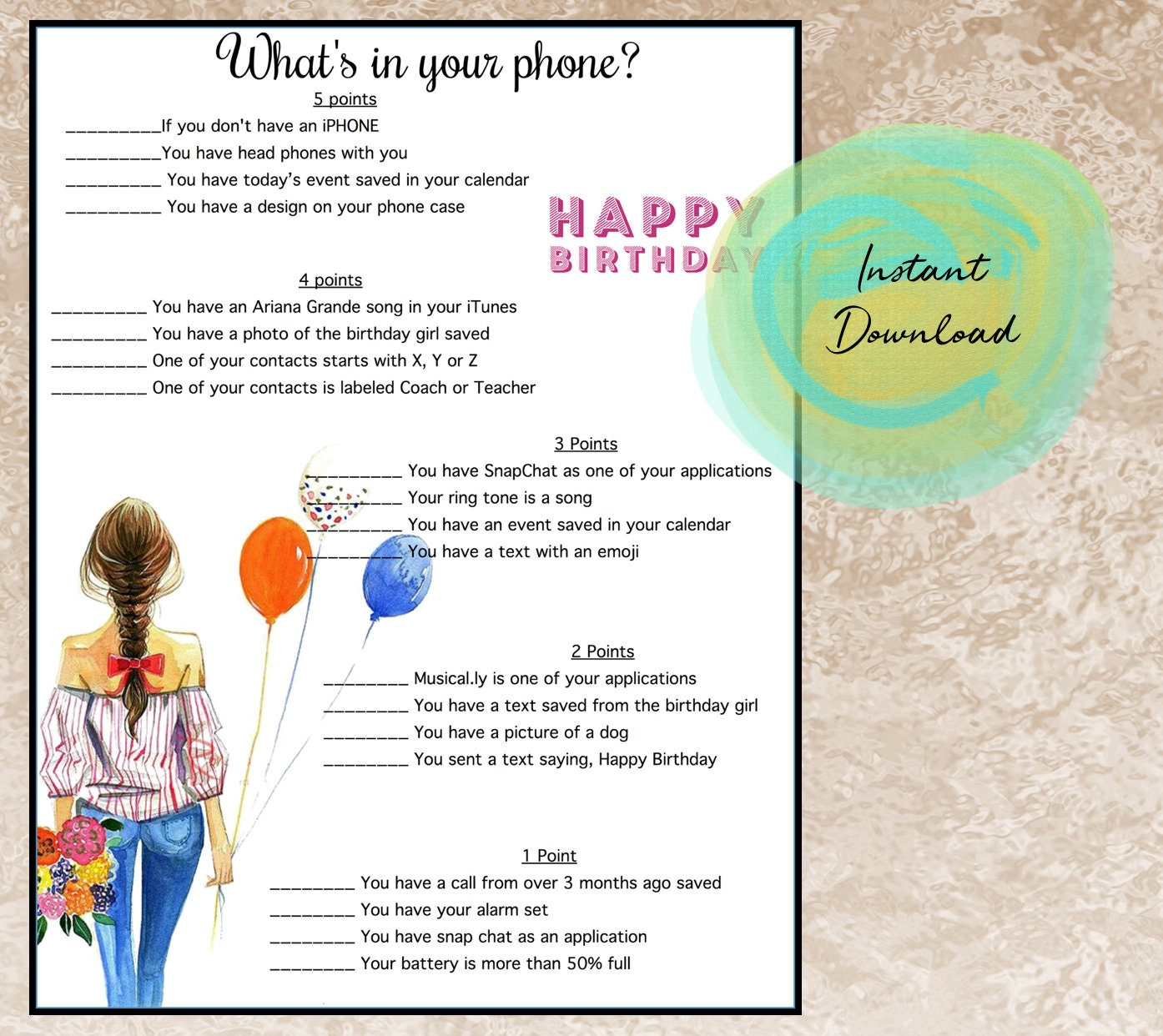 Girls Birthday Party Game Whats In Your Phone Tween Party