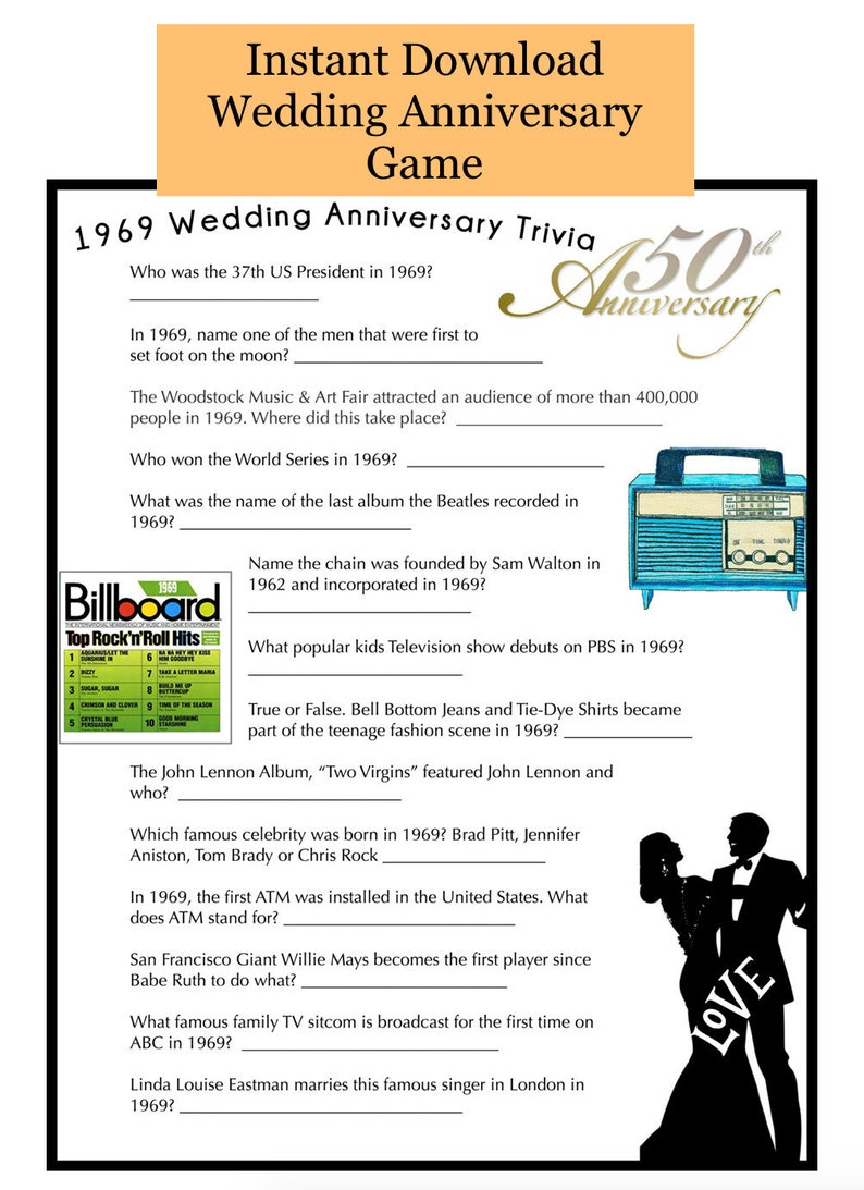 1969 Wedding Anniversary Party Game Questions from 1969   Etsy