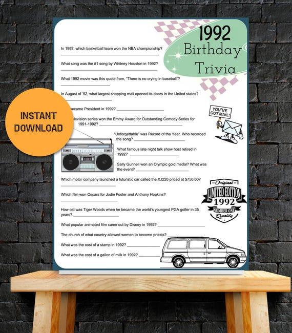 1992 Year Birthday Trivia Game 21st Birthday Instant
