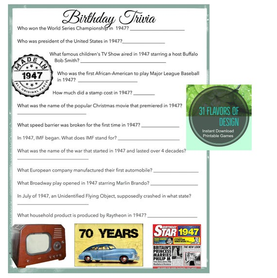 Items Similar To 1947 Birthday Trivia Game