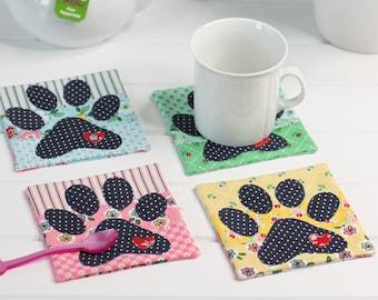 Dog Paw Coaster Mugrug PDF Sewing Pattern