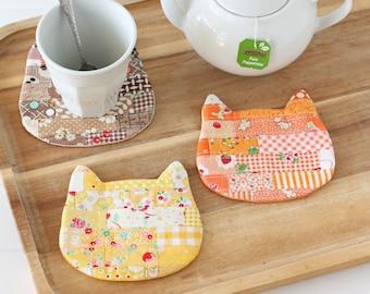 Cosy Cat Coaster Mug Rug PDF Sewing Pattern