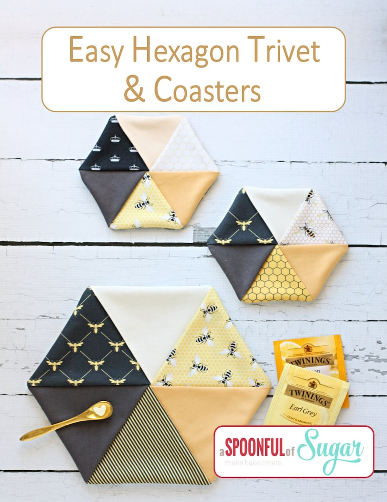 Easy Hexagon Trivet and Coasters pdf Sewing Pattern image 0