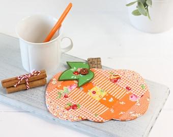 Patchwork Pumpkin Coaster Mugrug PDF Sewing Pattern