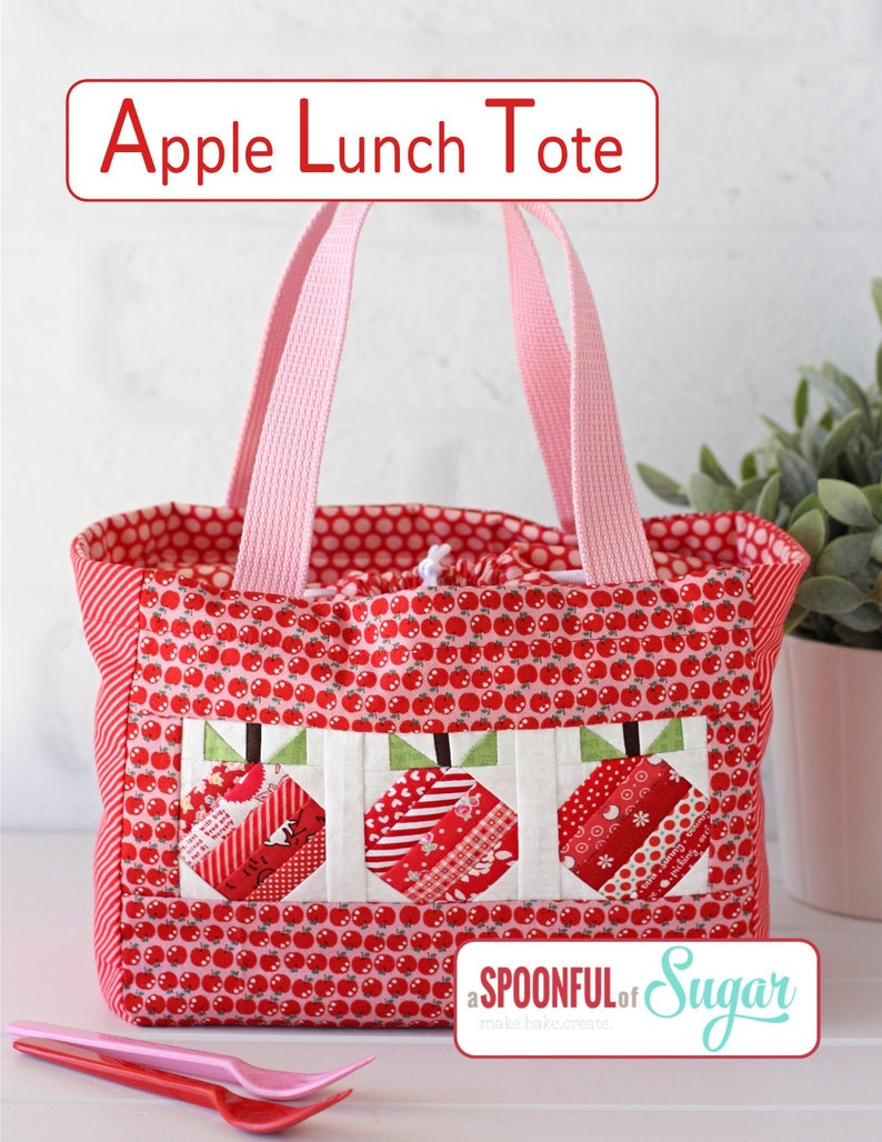 Apple Lunch Tote PDF Sewing Pattern image 1