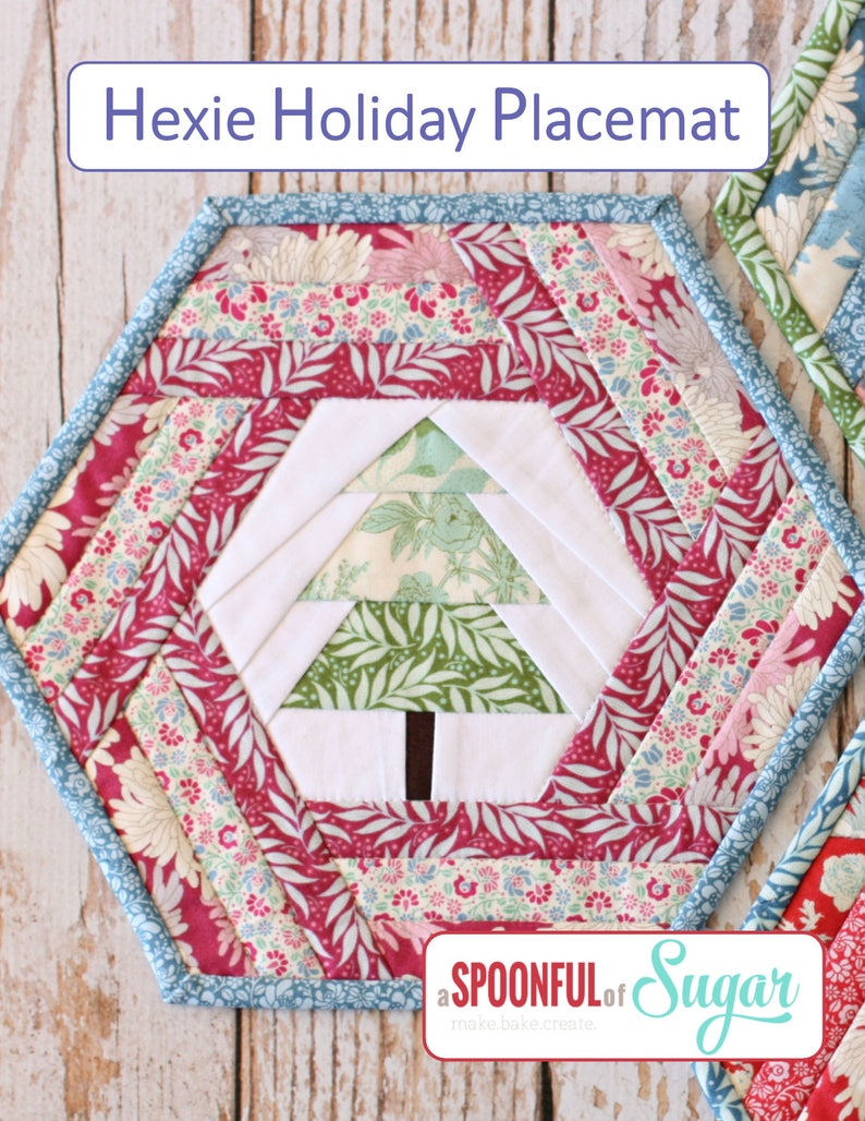 Hexie Holiday Placemat PDF Sewing Pattern image 0