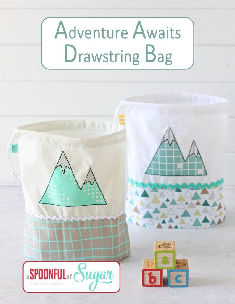 Adventure Awaits Drawstring Bag pdf Sewing Pattern image 0