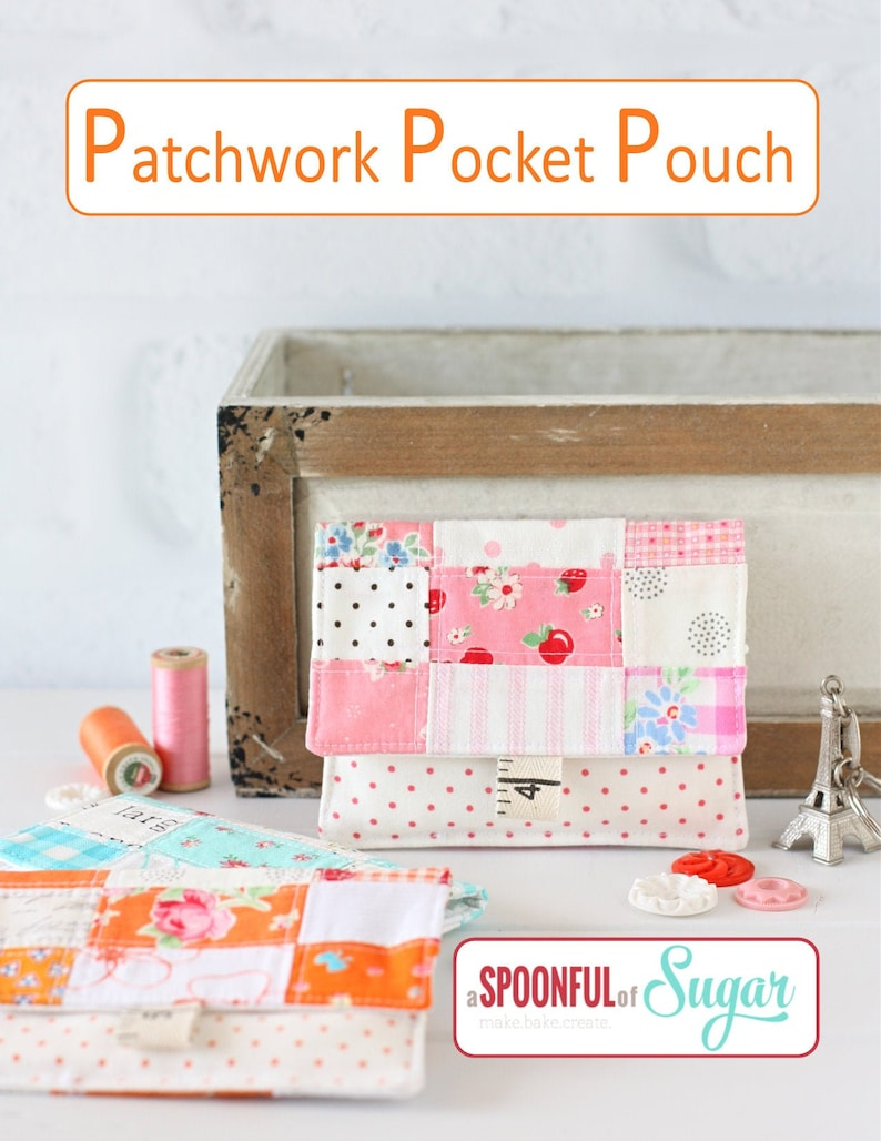 Patchwork Pocket Pouch PDF Sewing Pattern image 0