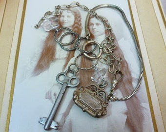 SKELETON KEY STEAMPUNK watch chain fob vintage antique assemblage necklace
