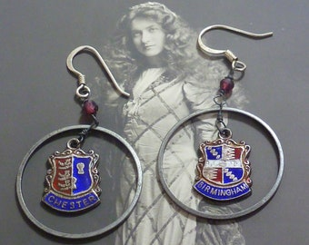 ENGLISH SILVER shield CHARMS vintage sterling assemblage hoop earrings