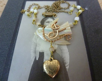 GOLD TINY LOCKET mother of pearl bird  vintage antique assemblage necklace