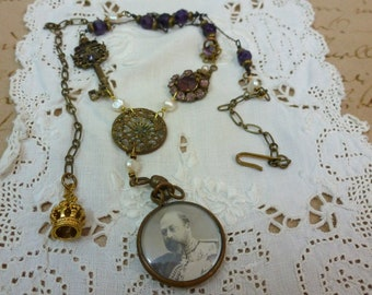 VICTORIAN PORTRAIT LOCKET Antique Assemblage Vintage Necklace George and Mary