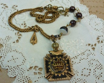 KNIGHTS OF PYTHIAS Vintage Antique Watch Chain Assemblage Necklace