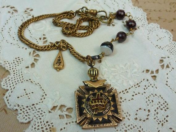 Antique Victorian Fob Chain Assemblage Statement Necklace