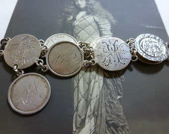 ANTIQUE VICTORIAN sterling love token 8 COIN  bracelet seated liberty