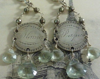 ANTIQUE LOVE TOKEN Mama and Papa sterling seated Liberty coin earrings with green amethysts