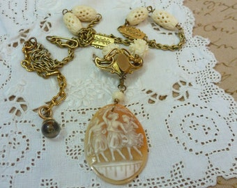 THREE MUSES  antique cameo vintage assemblage necklace