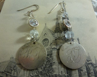 ANTIQUE LOVE TOKEN engraved initial sterling Queen Victoria coin earrings with aquamarines