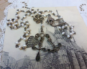 FAITH HOPE and CHARITY  vintage antique assemblage necklace with filigree silver charms
