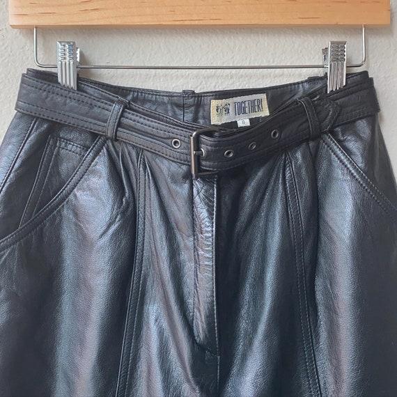Vintage Leather Pleated Pants