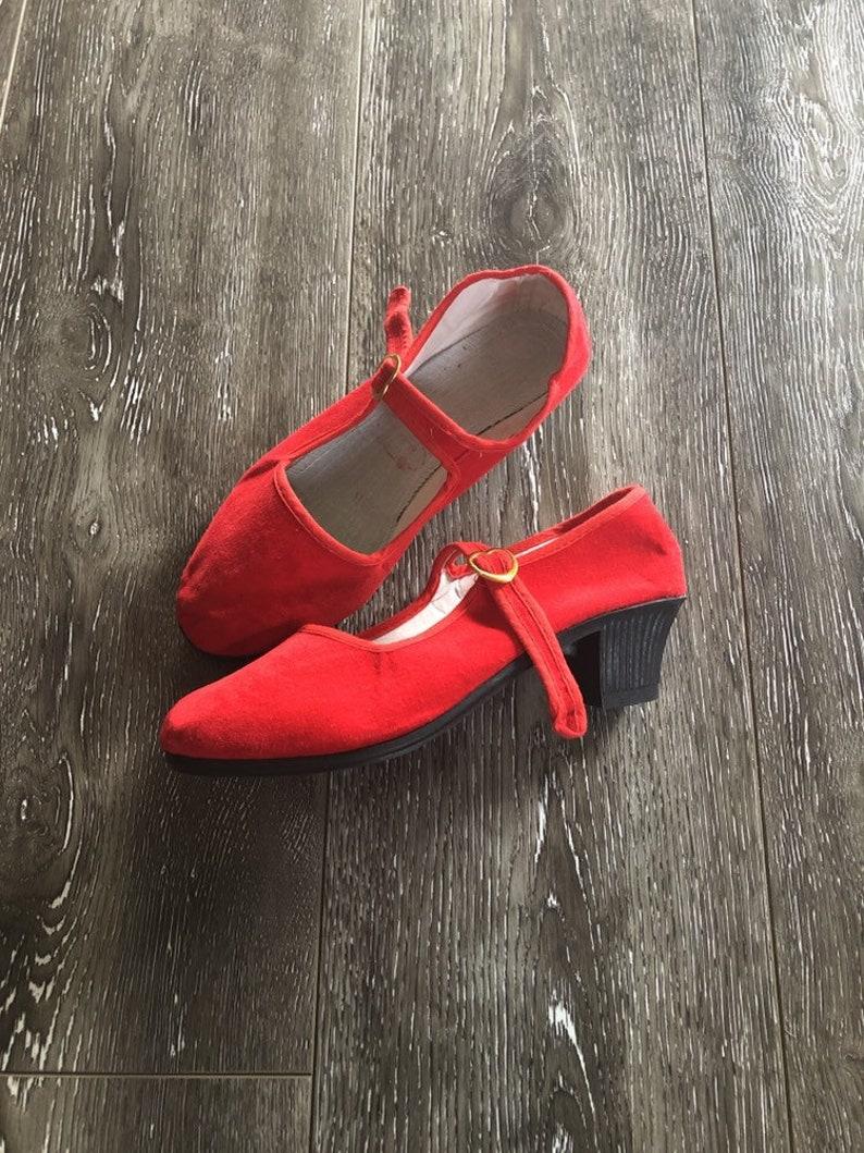 Vintage Kids Red Velvet Maryjanes