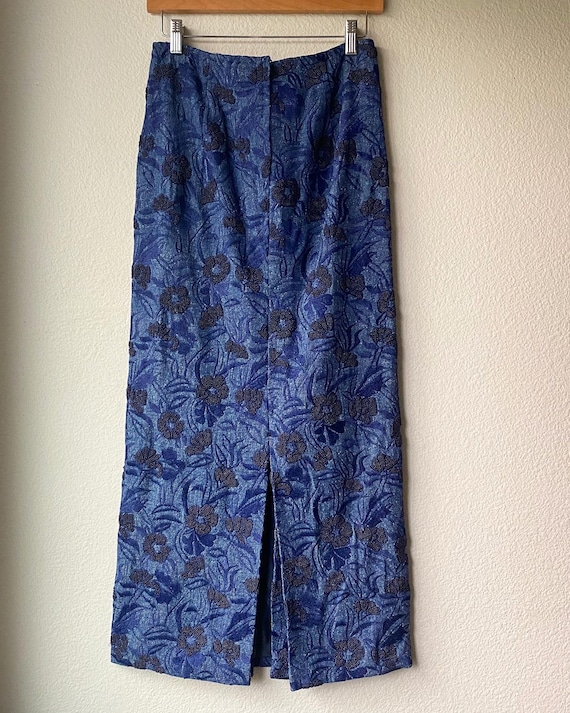 Vintage Embroidered Beaded Denim Maxi Skirt