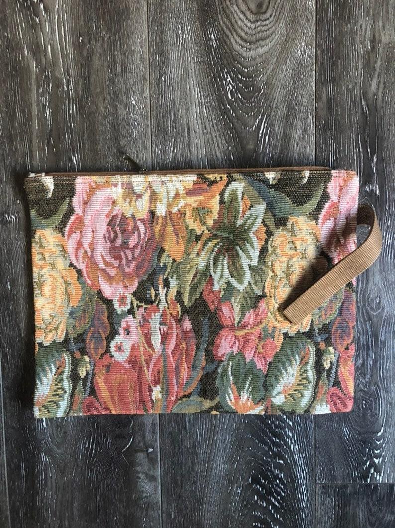 Vintage Oversized Tapestry Clutch