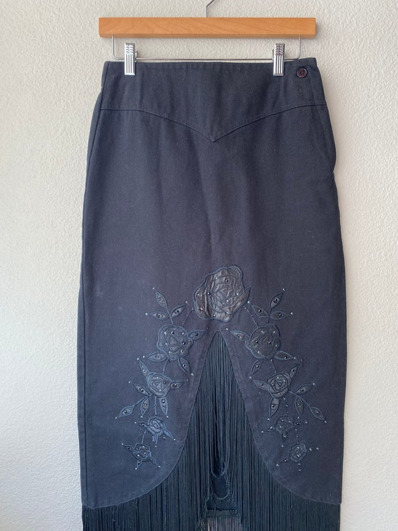 Vintage Denim Fringe Maxi Skirt