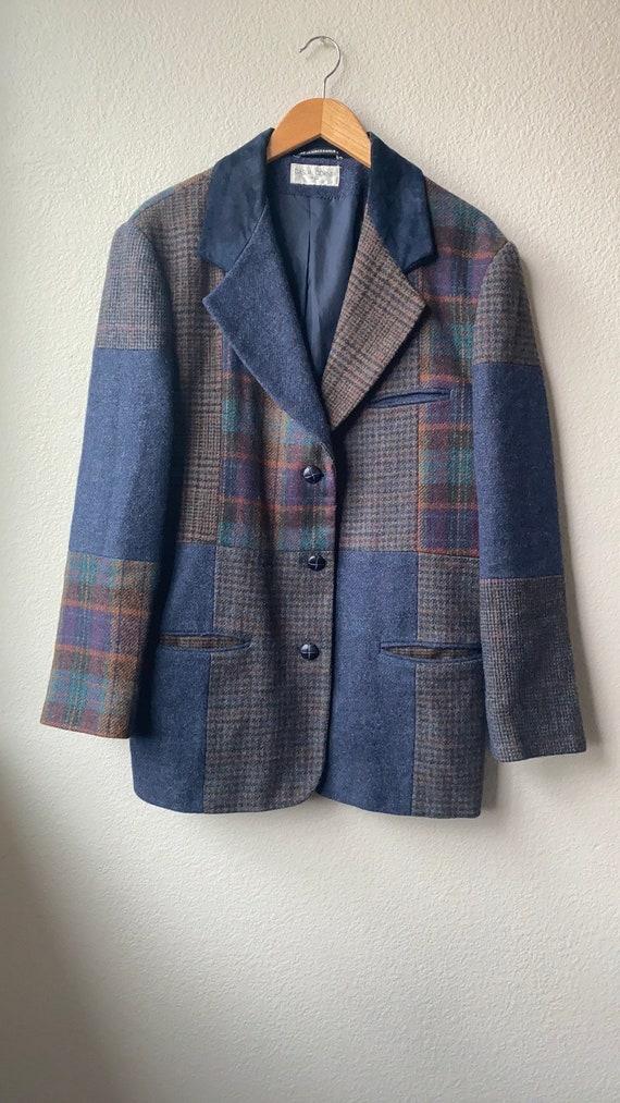 Vintage Wool Patchwork Blazer